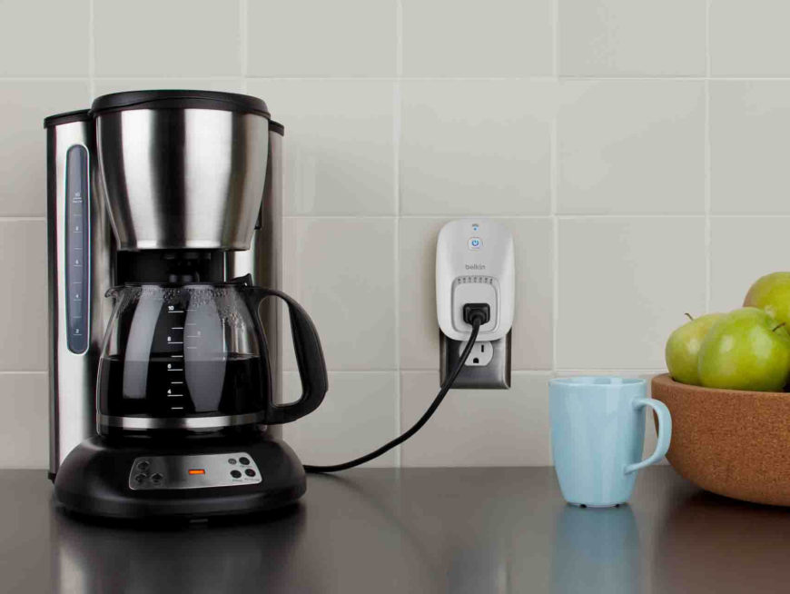 Here's a look at the WeMo in action, looking as inconspicuous as possible plugged into a kitchen wall outlet. This is a great example of what it can do for you, turning the coffee on when it senses that you're in range.