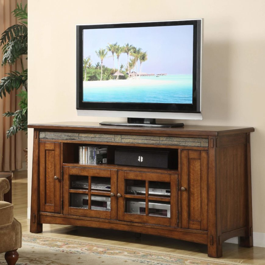 This handsome TV stand echoes the design of the first entry on our list, with a slim accent layer below the top surface and rich natural wood all around. The thick-framed, unfussy design features a pair of glass door cabinets for component access, plus an open shelf for speakers or media. It's an elegant solution enhanced by its balanced Craftsman design.
