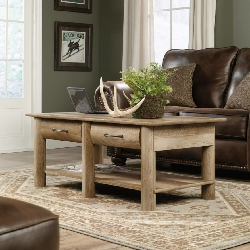 While Craftsman style often leans slightly toward rustic minimalism, this table is probably the furthest in that direction we've yet seen. Curved wood pieces make for a warmly natural look, as does the light unvarnished tone. The coffee table fits two drawers in for abundant storage, plus a lower level surface for additional display space.