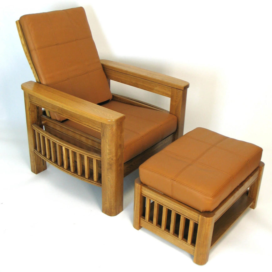 Instead of oak, this chair utilizes the much brighter looking birchwood for its rich natural frame. The chair features that familiar vertical slat design, but slightly bowed out to make room for newspaper or magazine storage. Paired with a matching ottoman, it's bound to be an elegantly comfortable presence in any Craftsman styled living room.