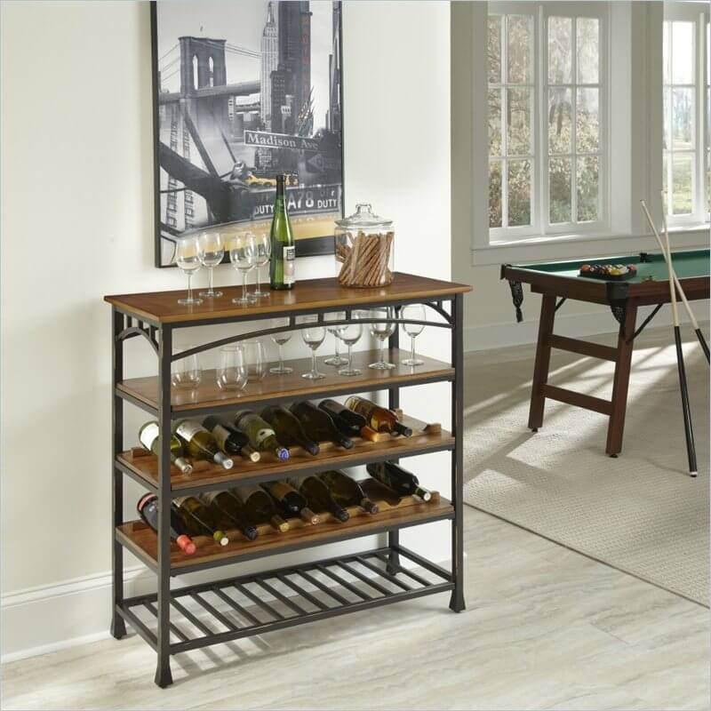 While it looks at first glance very similar to a couple of our shelving units pictured above, this attractive little piece of furniture is in fact a Craftsman style wine rack designed to sit in your living room. It's got layers of rich oak shelving for both glasses and bottles, and is adorned with the familiar slim arch and vertical slats in its powder coated metal framing.