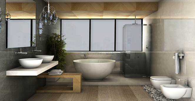 Here we can see how dramatically this technology can transform the look and feel of a room. The once open bathroom becomes a den of privacy, perfect for nighttime baths or mornings when you're just not ready to face the world.