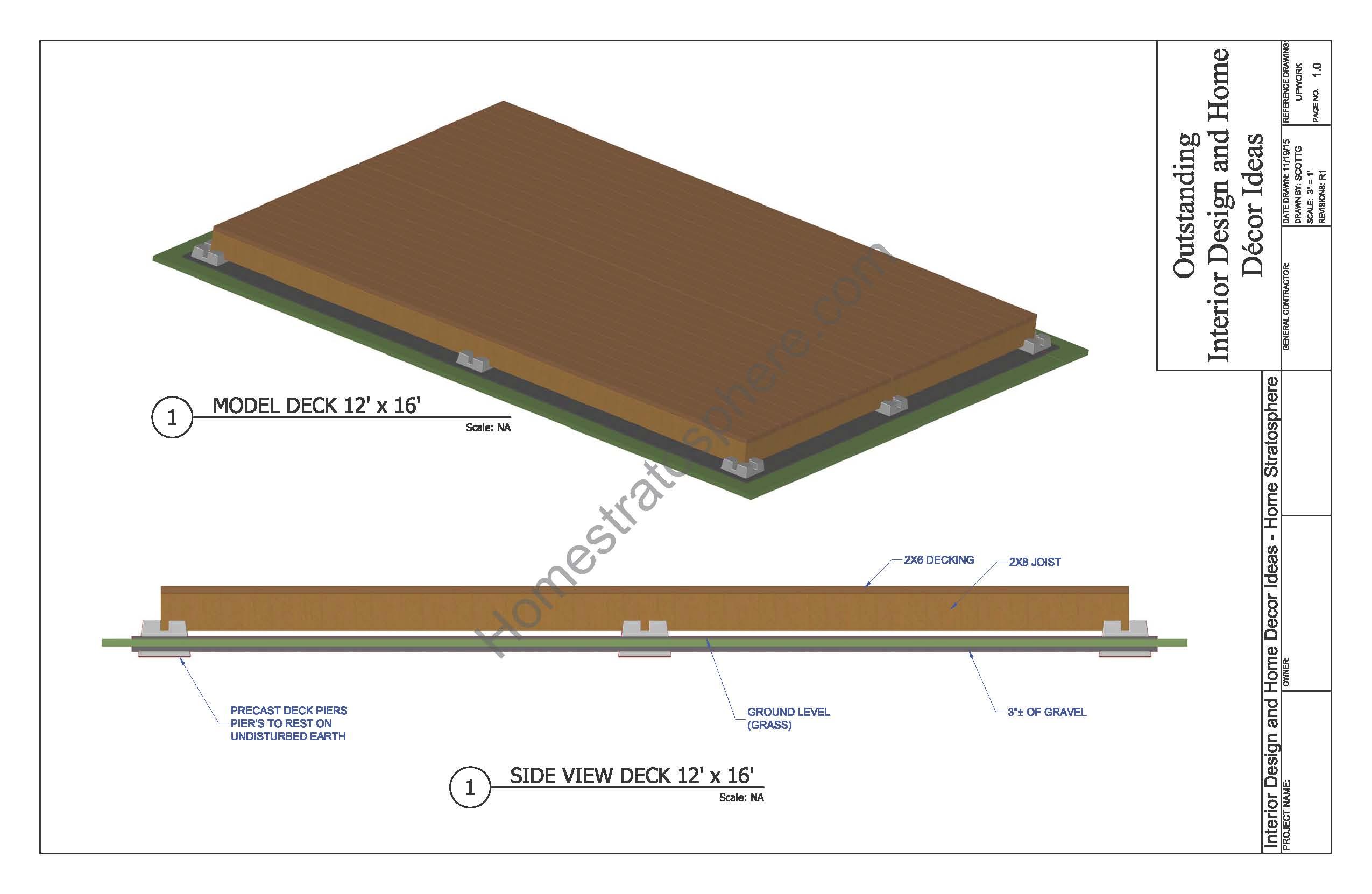 12 X 16 Ground Level Deck (Like a Wooden Patio)
