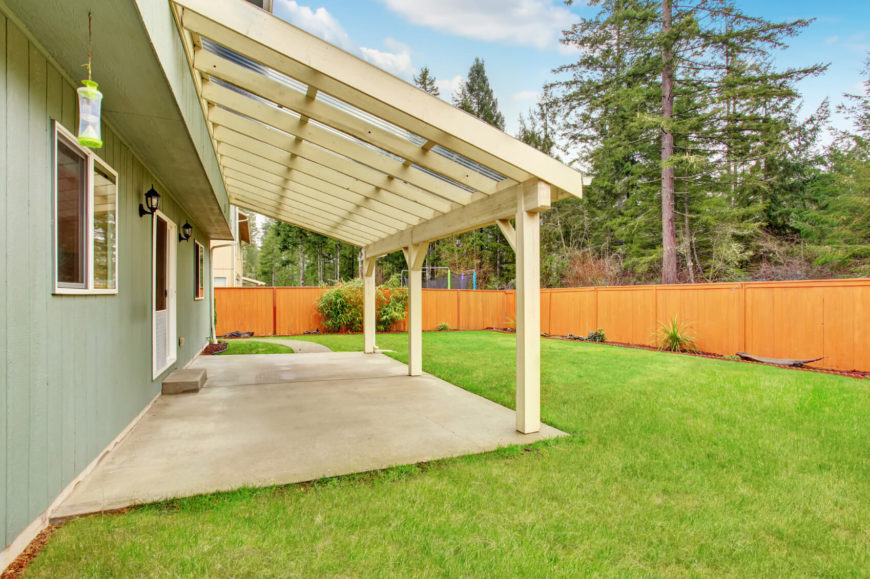 A lightly painted stained fence can brighten up a yard.