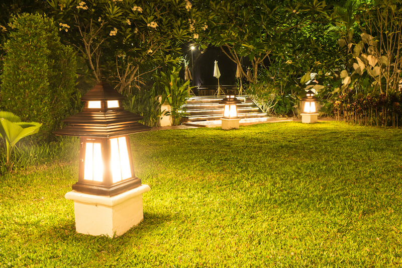 Or, opt for larger lanterns around the yard. These give off much more light than smaller varieties, but are more visible during the day.