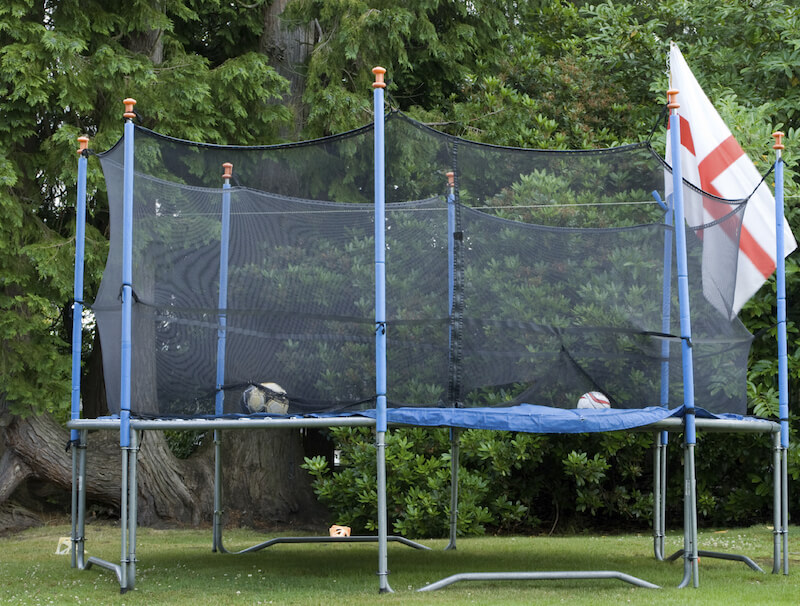 Adding netting is also a great way to turn a trampoline into a soccer arena.