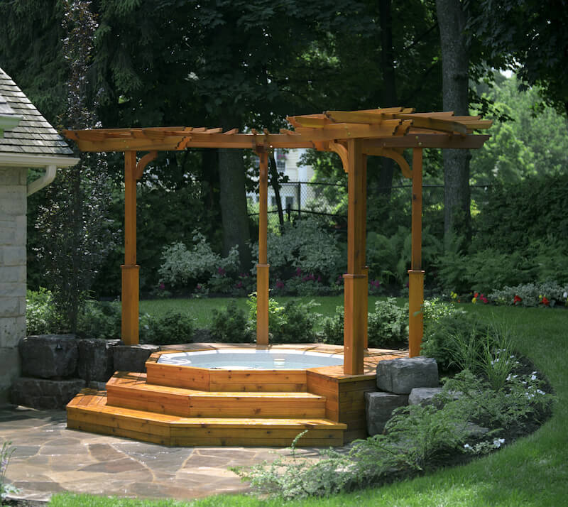 Or, combine your pergola with a nice hot tub for a classy dual threat.