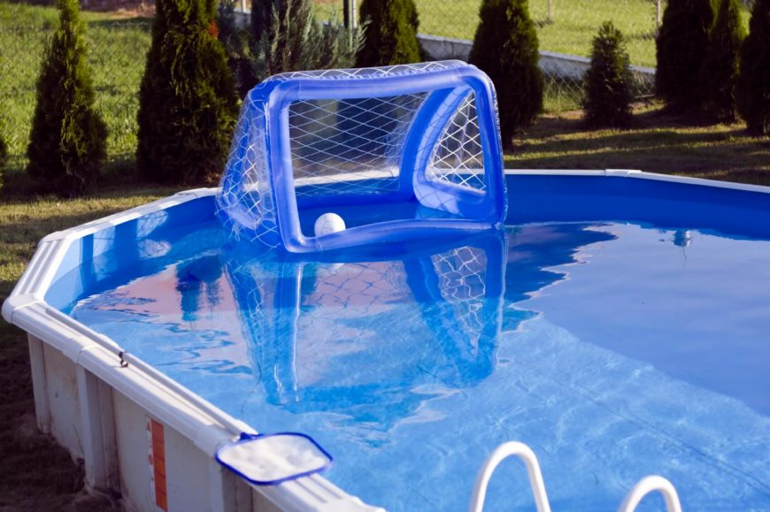 Garden pool with water polo goal.