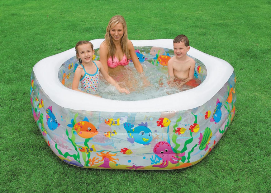 This is a smaller diameter inflatable pool with a fun sea life pattern, making this a fun pool for children. Do to the size, this pool could be set up nearly anywhere, in the front yard or backyard.