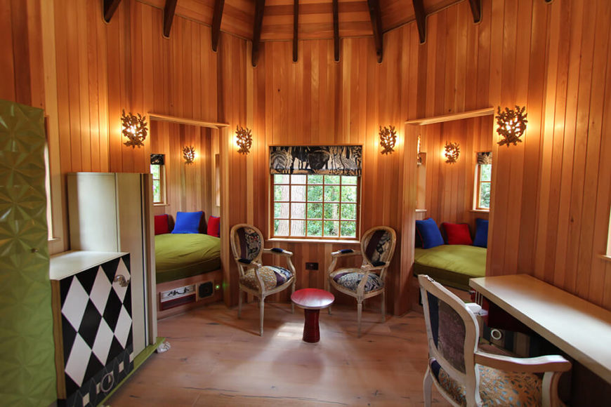 Inside one of the treehouses are spacious reading nooks, a desk, and sitting areas. A perfect place to do homework in a quiet spot.