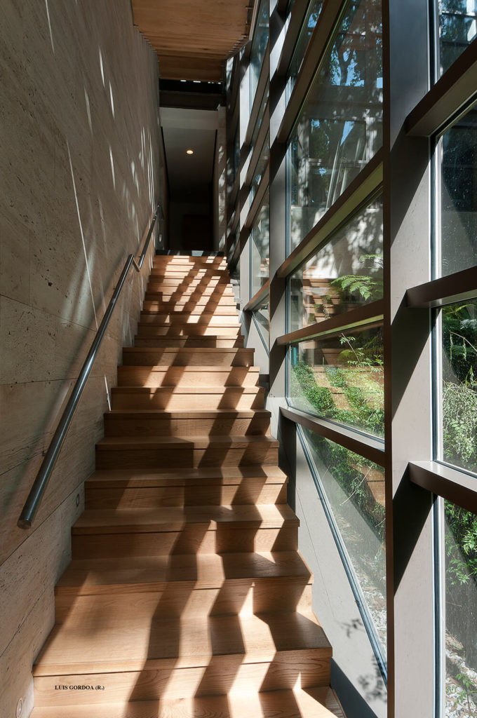 Running along the exterior glass panels, the main staircase is a warm burst of natural wood against the cool materials of the home structure.