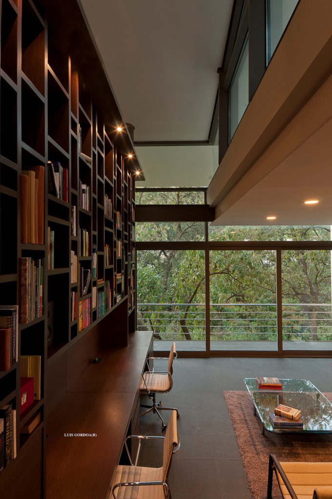 Standing at the edge of the large open space, we see a massive bookshelf system in rich wood, towering in the two-story room.