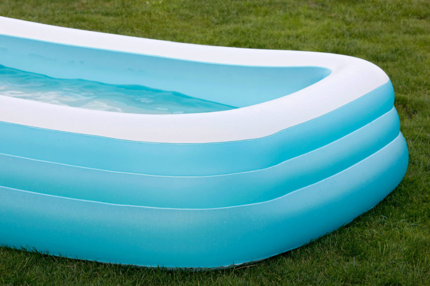 A rectangular inflatable kids pool. These kinds of pools can fit nearly anywhere.