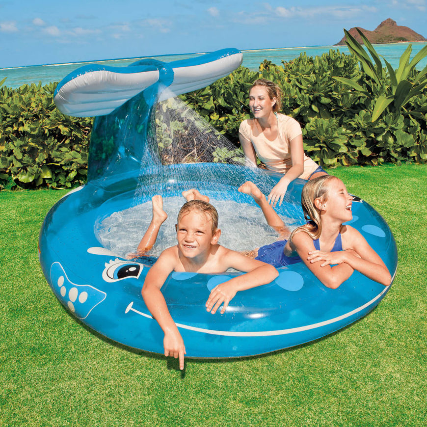 This is a fun version of an inflatable pool, with a whale based design and a water spray feature to add to the appeal.