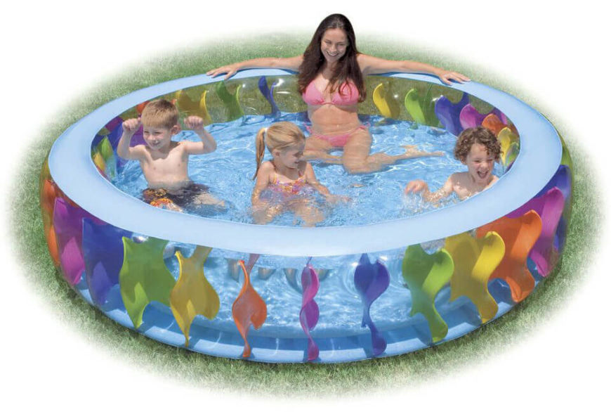 This is a larger version of the inflatable pool. This is good for kids that are a bit older, or multiple children at the same time. It has a fun and colorful design to make this pool appealing to children.