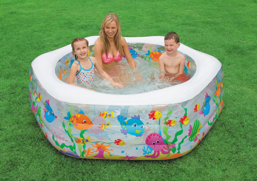 This is a fun hexagonal pool with a colorful fish design. This pool is perfect for a couple of children. Because this pool is not as shallow as some others, this pool is good for kids that are getting used to a bit more depth of water.