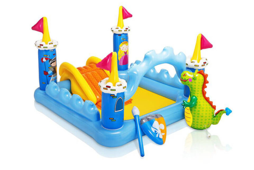 This inflatable pool comes with a number of accessories, making an exiting adventure for a younger child. With a slide and a dragon, the imagination can run wild!