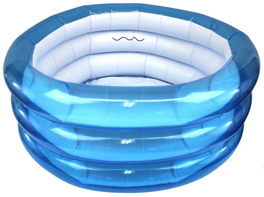 This small roung inflatable pool is perfect for a single young child. For getting them used to swimming, or just being in the water. This is a great starter pool for a little one.