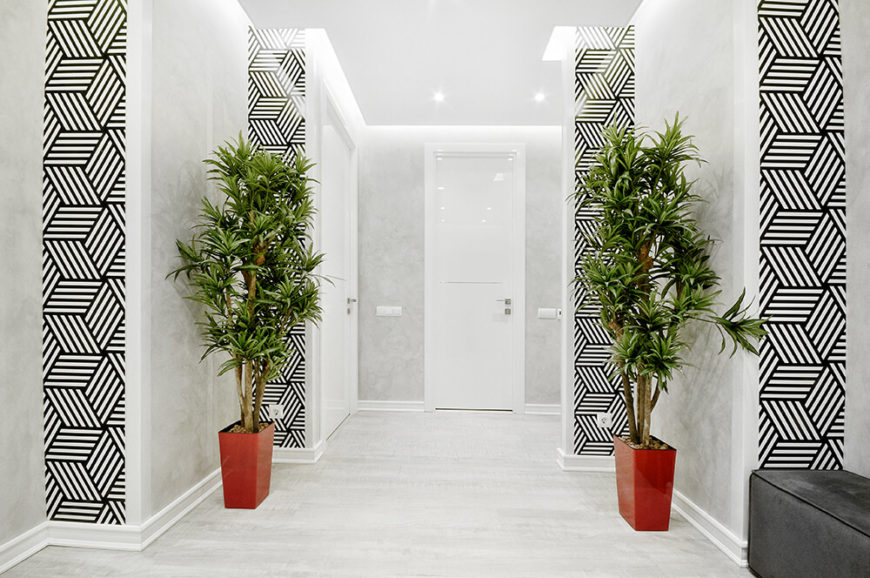 Now we take a look at the main entryway for the home, where high contrast geometric wallpaper offers a startling break from the white color palette. A pair of small trees offers a hint of the wall gardens and a splash of warmth.