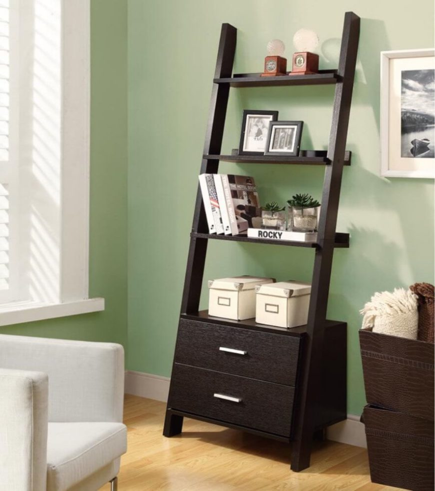 This shelving unit is designed to lean against the wall. This kind of unit is good if you don't want to install anything on your walls.