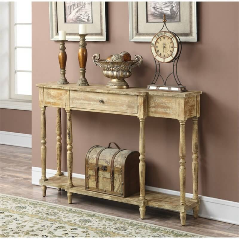 A free standing table can make a good self. This worn wood table has an antique look that could fit with a variety of design styles.