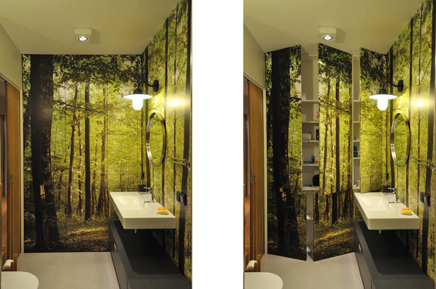 Storage is hidden on one side of the bathroom. When the doors are closed, it looks like an extension of the mural. When opened, it reveals all the bathroom storage you could want.