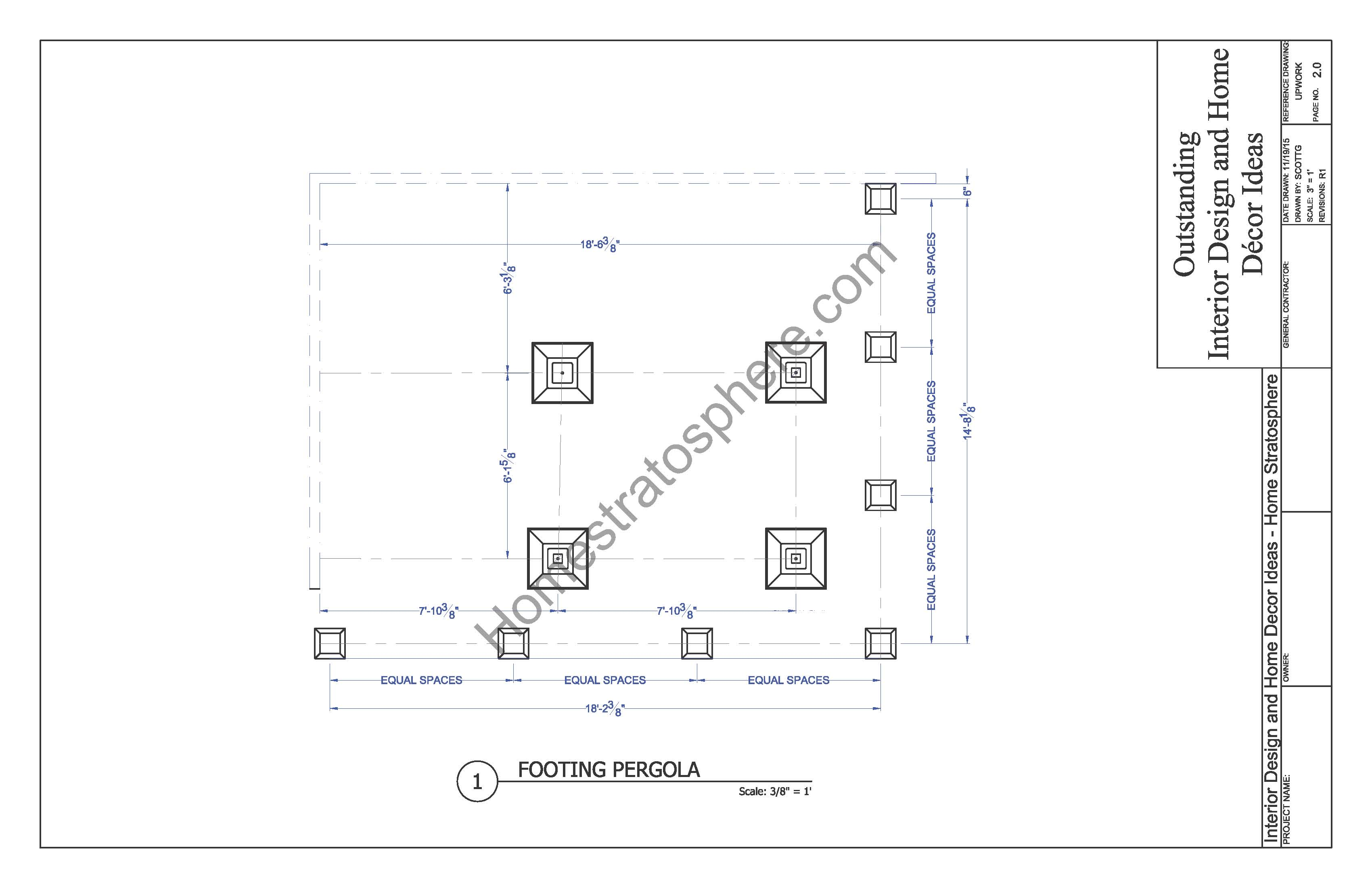 Deck Pergola Footings Blueprint
