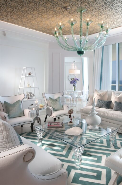 This is an amazing light, bright and clean design. The whites and light grays are brought to life with a theme of light blues. This creates a cool and upscale and calming atmosphere.