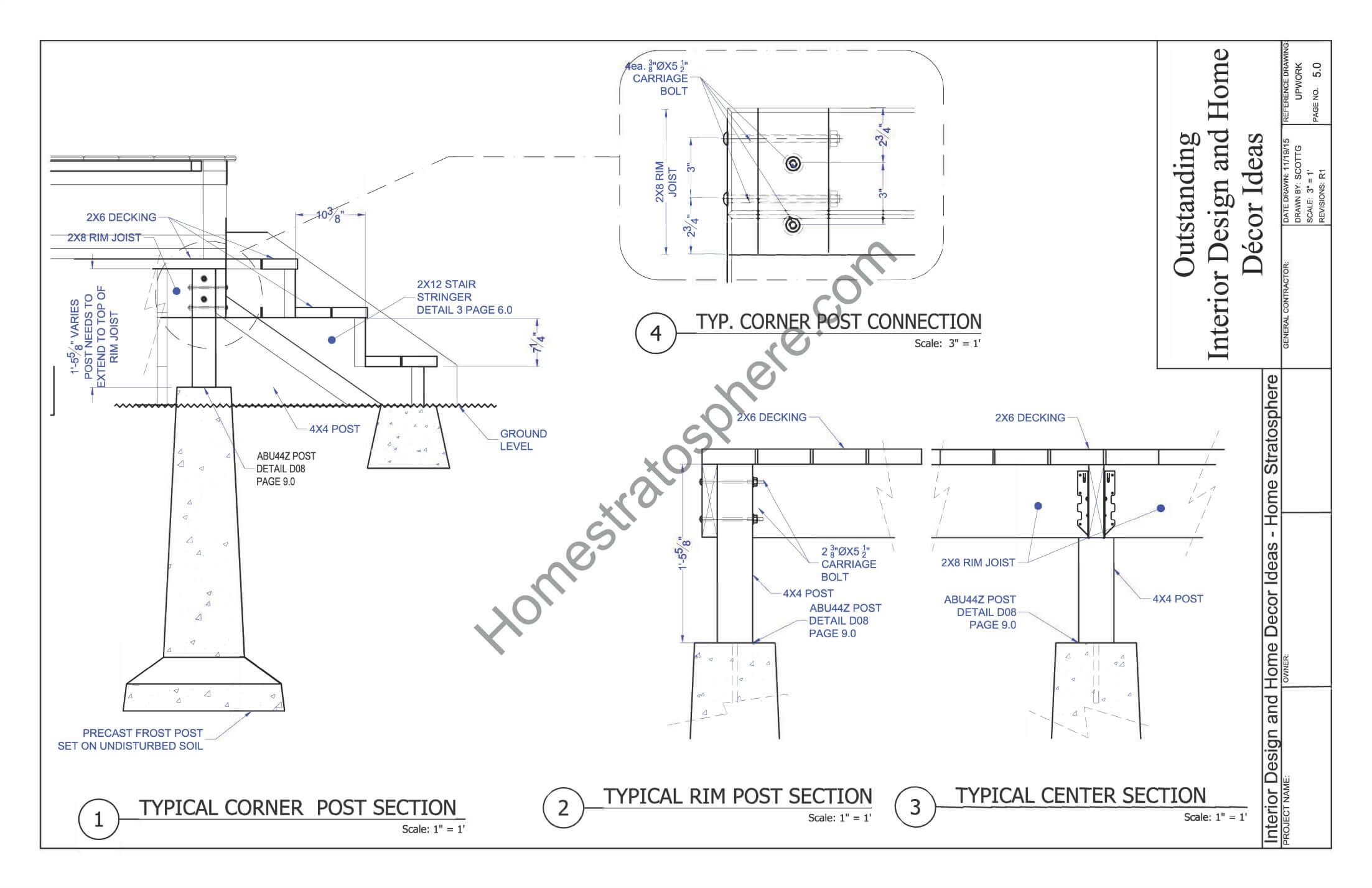 Corner Deck Post Blueprints