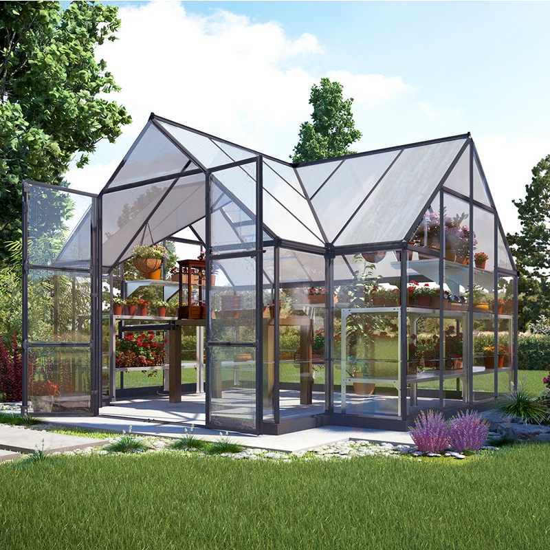 Here is a sizable greenhouse with large double doors. Due to the high ceiling, there is room in this greenhouse for hanging plants on in addition to the normal shelves of potted plants