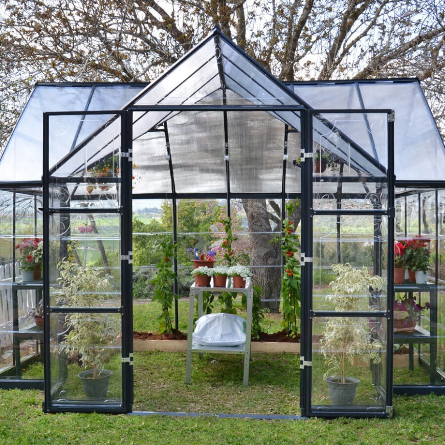This large greenhouse kit has double doors and plenty of space for all kinds of plants. This is a great option if you have a decent sized yard, but are not quite ready for a lasting structure