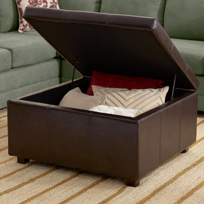 This open ottoman shows the storage that can be inside a utility furnishing. Store pillows and throw blankets close by where you can fish them out if it gets chilly.
