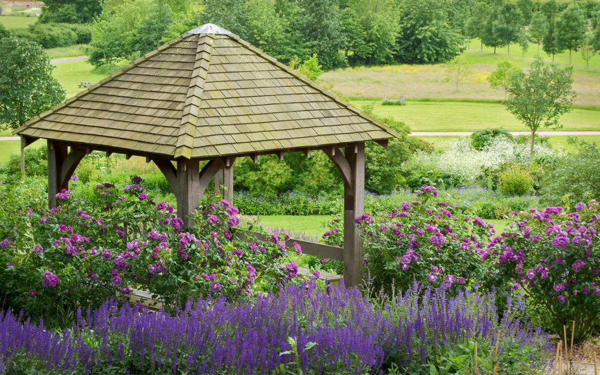 Lavender and purple roses encircle this craftsman style gazebo and serve as a fragrant substitute for walls.