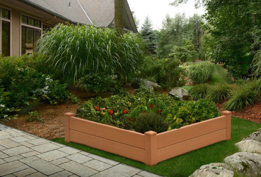 Here is a plastic, prefabricated raised flower bed. These are great if you don't have the time or space to work on a DIY project. This bed is perfectly functional and is also stylish and clean