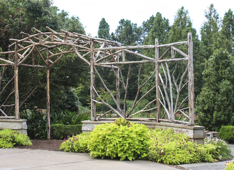 This is an incredible custom built rustic arbor with sunburst details made out of branches. The construction is so unique, no flowers are needed to beautify.