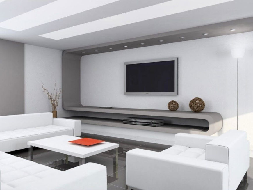 Recessed light is used in this simple and beautiful modern living room. This room is minimal, but with the lighting is welcoming and makes you feel at home.