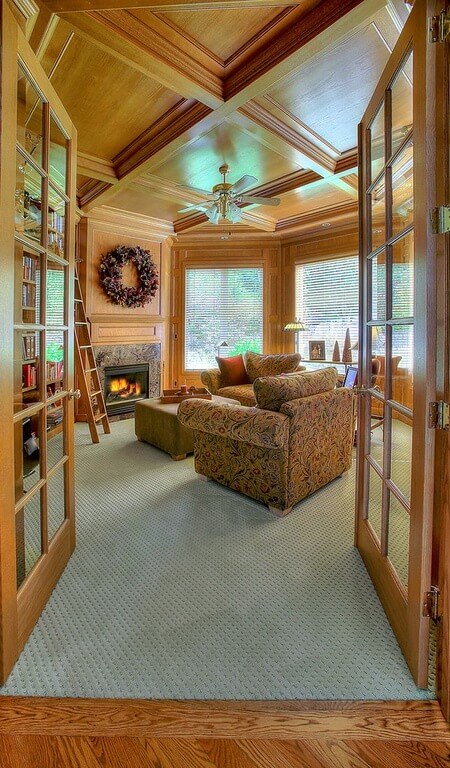 Here is a great coffered ceiling with rich wood tones through and trough. This is an amazing ceiling for a craftsman or rustic style design. Any kind of styles that focuses on rich natural tones would suit this ceiling perfectly.