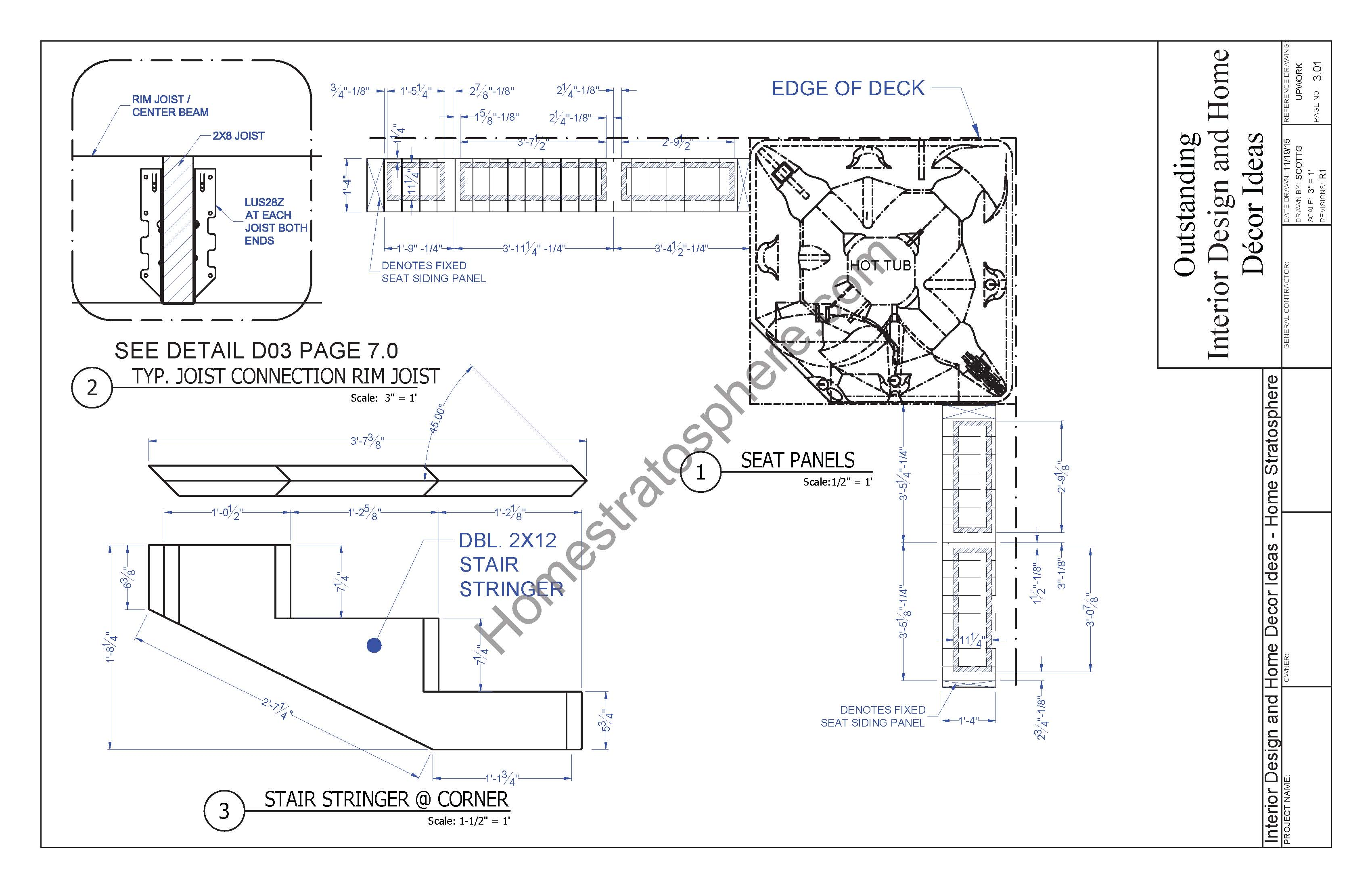 Hot tub and stairs plans (part of deck plans)