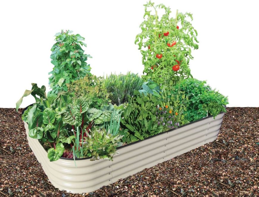 Here is a small prefabricated raised flower bed made of metal. This is a nice addition to any small urban garden, or outside of a modern style home