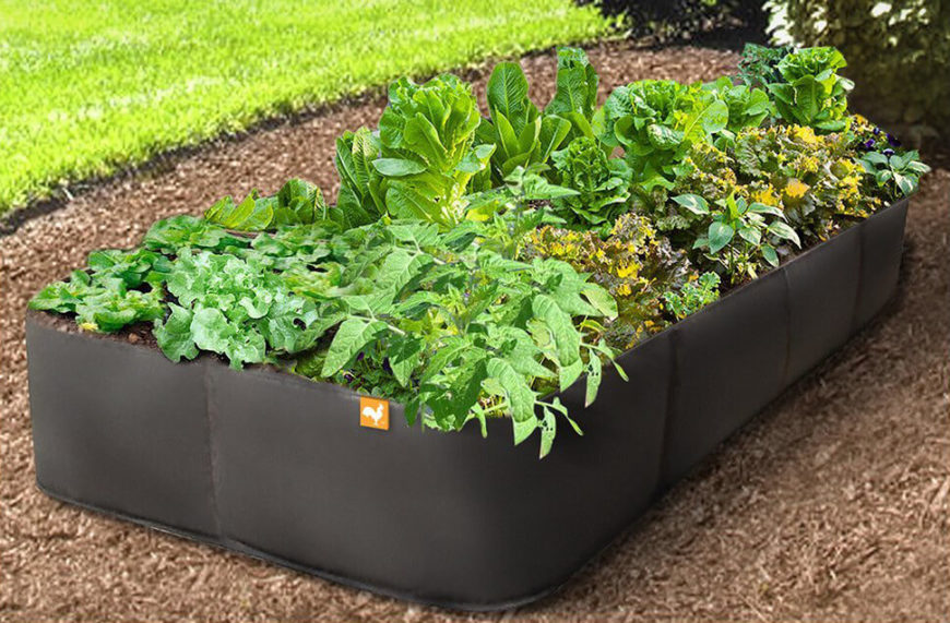 A garden with soft sides like this can be easily folded and stored when you no longer want to use it, or have nothing left you wish to grow. This make an ideal temporary place for plants, where you can tend to them closely before transferring them to a more permanent spot.