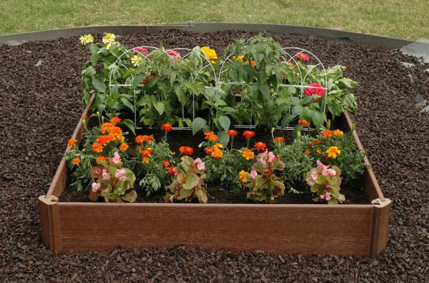 This garden bed is ideal for a small garden of either flowers or vegetables. If you had multiple of this style of garden beds, you could line them up and they would look pretty stylish and increase your growing area.