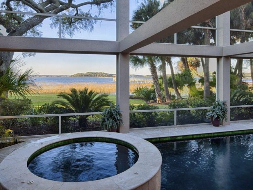 A great pool side feature is a small and personal hot tub. With a view like this, who could resist a long and relaxing soak in this hot tub?