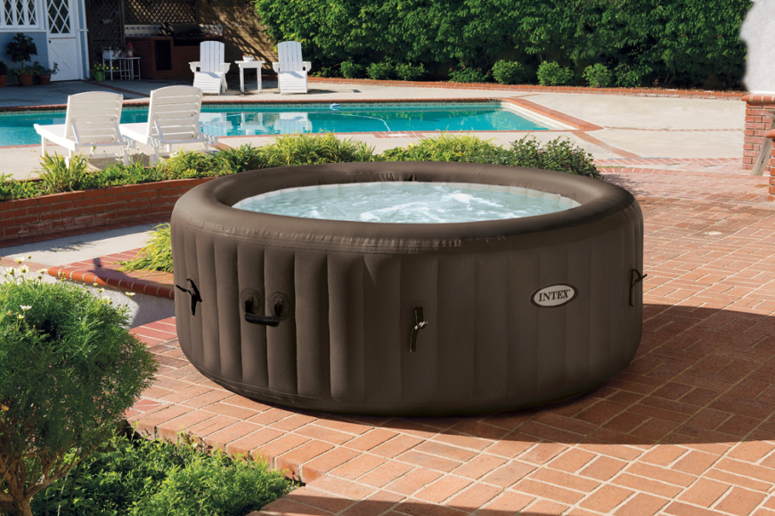 This is a picture of an inflatable and mobile hot tub. These are great for people that are not sure if they want to invest the money, time, or space for a permanent structure. A hot tub can be an investment and this option is a great way to test if a hot tub is really for you.