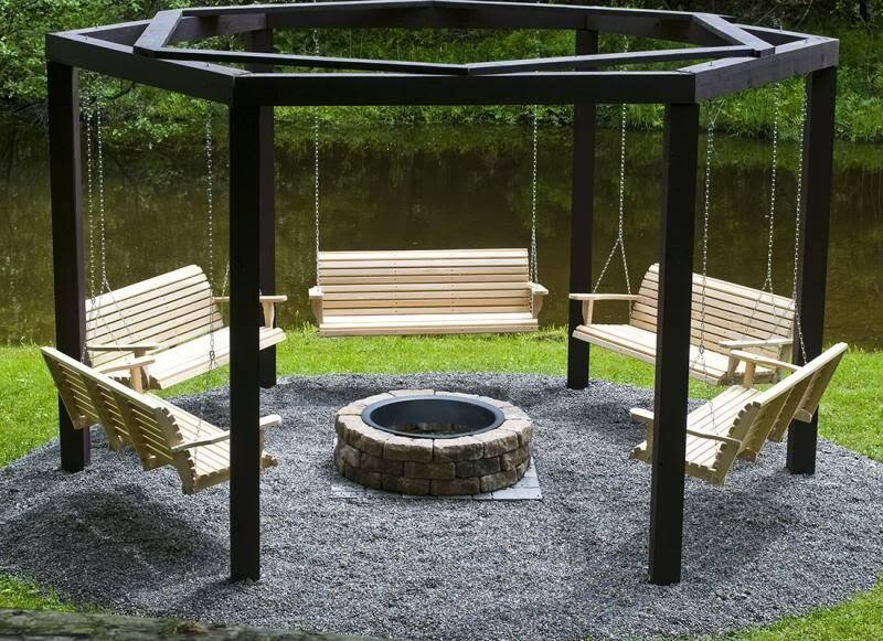 Having a swing by a fire pit is a great way to enhance the experience of sitting around a roaring blaze with your friends. This particular design circles the entire pit with five bench swings, letting everyone at the party enjoy the ability to swing.
