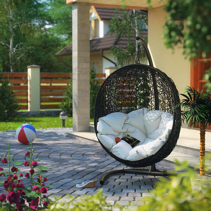 An oval, egg shaped swing is a design you don't see too often, but is a fun and functional shape. With this kind of partially enclosed swing seat, you can fill it with pillows and have a comfy area to sink into. This swing is small and self contained, so it is easy to move wherever you need it.