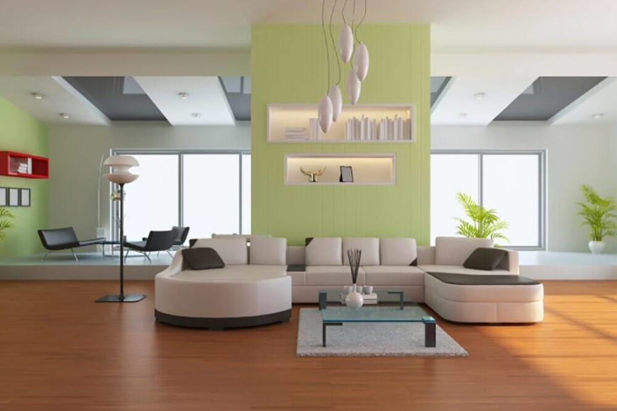 Here is an ultra modern sectional sofa with two chaise lounges. The extra wide seating and small backs on this sofa provide ample comfortable seating, while also minimizing its profile. The monochromatic color scheme makes this sofa perfect for any modern design, as it can go with any accent color you may choose.