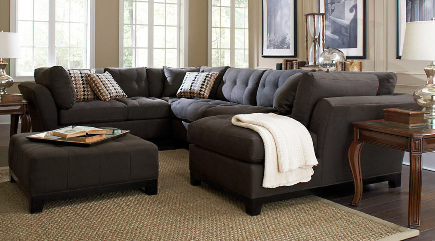 Here is an interesting sectional sofa that provides seating on four sides. This kind of sofa is perfect for social events where everyone wants to face one another and converse. Rather than facing the television, you face each other when you sit here.