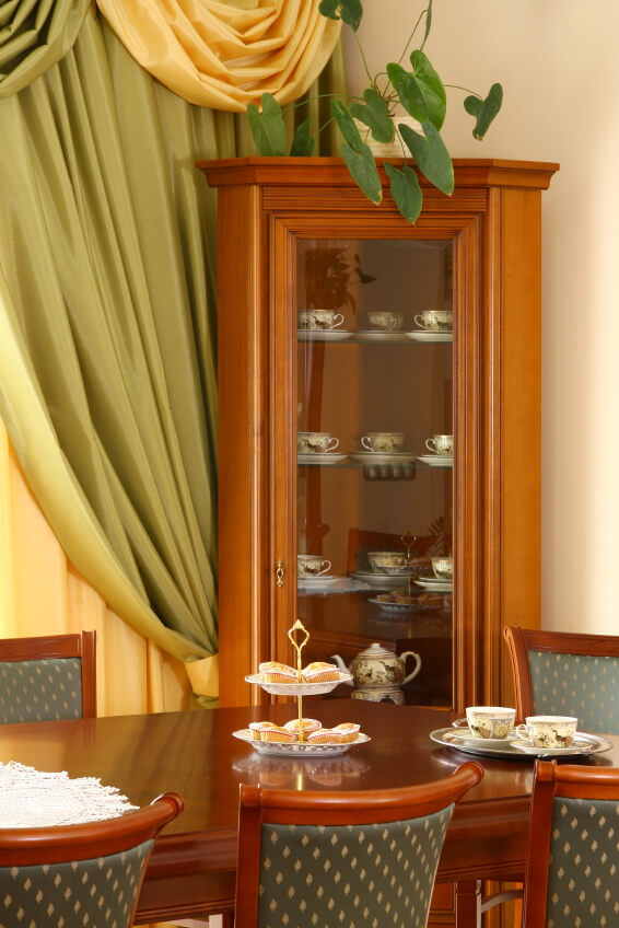 Honey wood corner curio cabinet