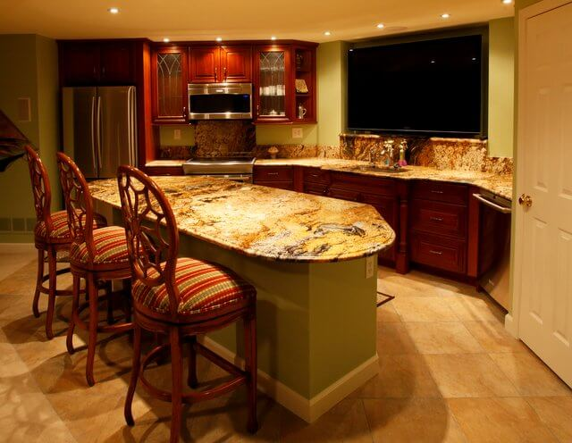 Granite with brighter colors and more variation are fantastic as focal points, even in home bar areas.