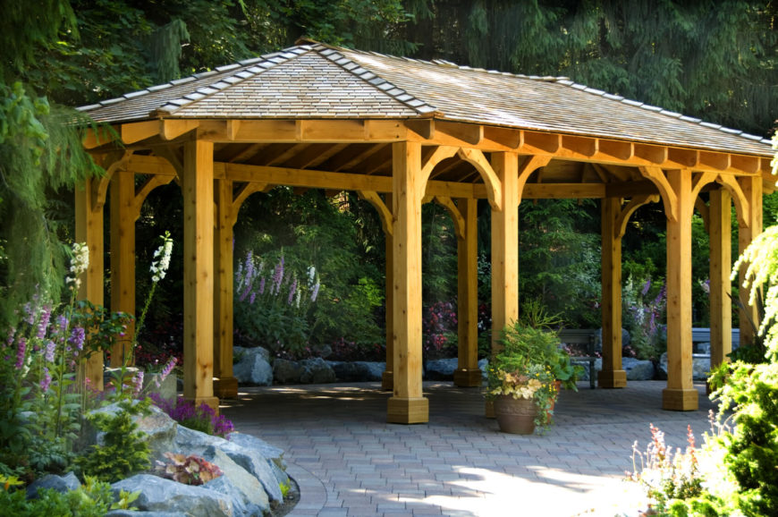 Not all pavilions are gathering places. If you have a portion of your walkway that needs a bit of extra shade, a pavilion may be your best bet. It can make walks around the garden more pleasant by not having to be in direct sunlight the entire time.